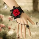 GOTH BLACK LACE APPLIQUE ROCOCO BIG ROSE SLAVE BRACELET WITH COPPER RING