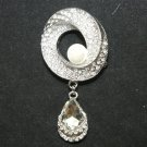 BRIDAL DRESS DANGLE CRYSTAL RHINESTONE SILVER DRESS BUCKLE BROOCH PIN
