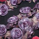 PURPLE WEDDING CRAFT ORGANZA DRESS FLOWER FLORAL ELASTIC LONG TRIM - 1 YARD