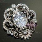 CLEAR/AURORA RHINESTONE CRYSTAL WEDDING DANGLE SASH BELT DRESS SILVER BROOCH PIN
