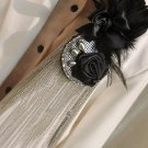 BLACK FEATHER TASSEL SMART MEN WEDDING PARTY ASCOT CRAVAT ROSE NECKTIE BROOCH