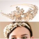 GOLD FLOWER BRIDAL WEDDING TIARA PEARL RHINESTONE CRYSTAL HAIR HEADBAND