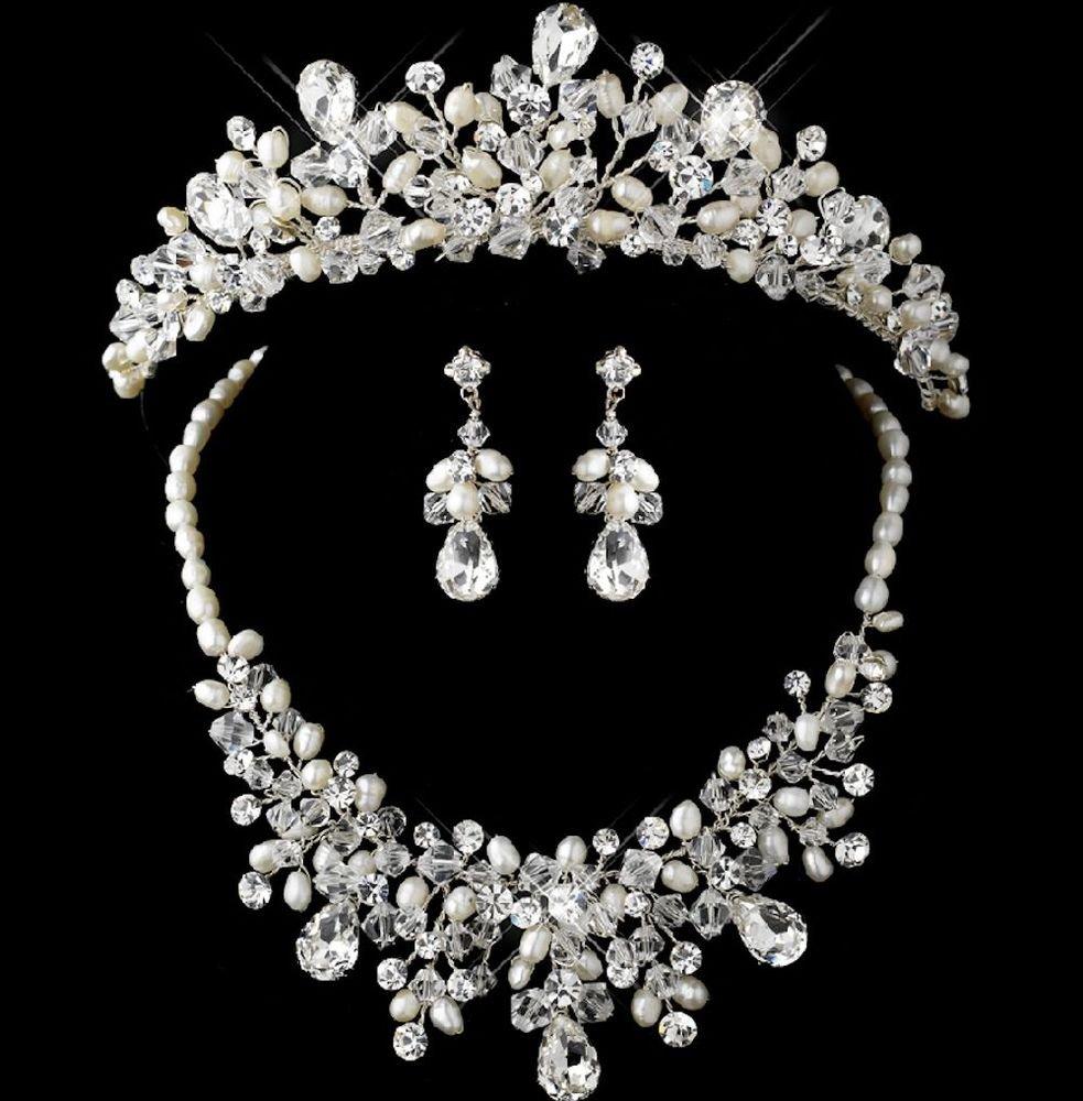 WEDDING BRIDAL RHINESTONE CRYSTAL FAUX PEARL HAIR CROWN EARRINGS NECKLACE