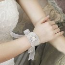 RHINESTONE CRYSTAL WEDDING BRIDAL BRIDE HANDMADE APPLIQUE ORGANZA BRACELET
