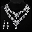 TEARDROP WEDDING BRIDAL RHINESTONE CRYSTAL DANGLE EARRINGS NECKLACE SET