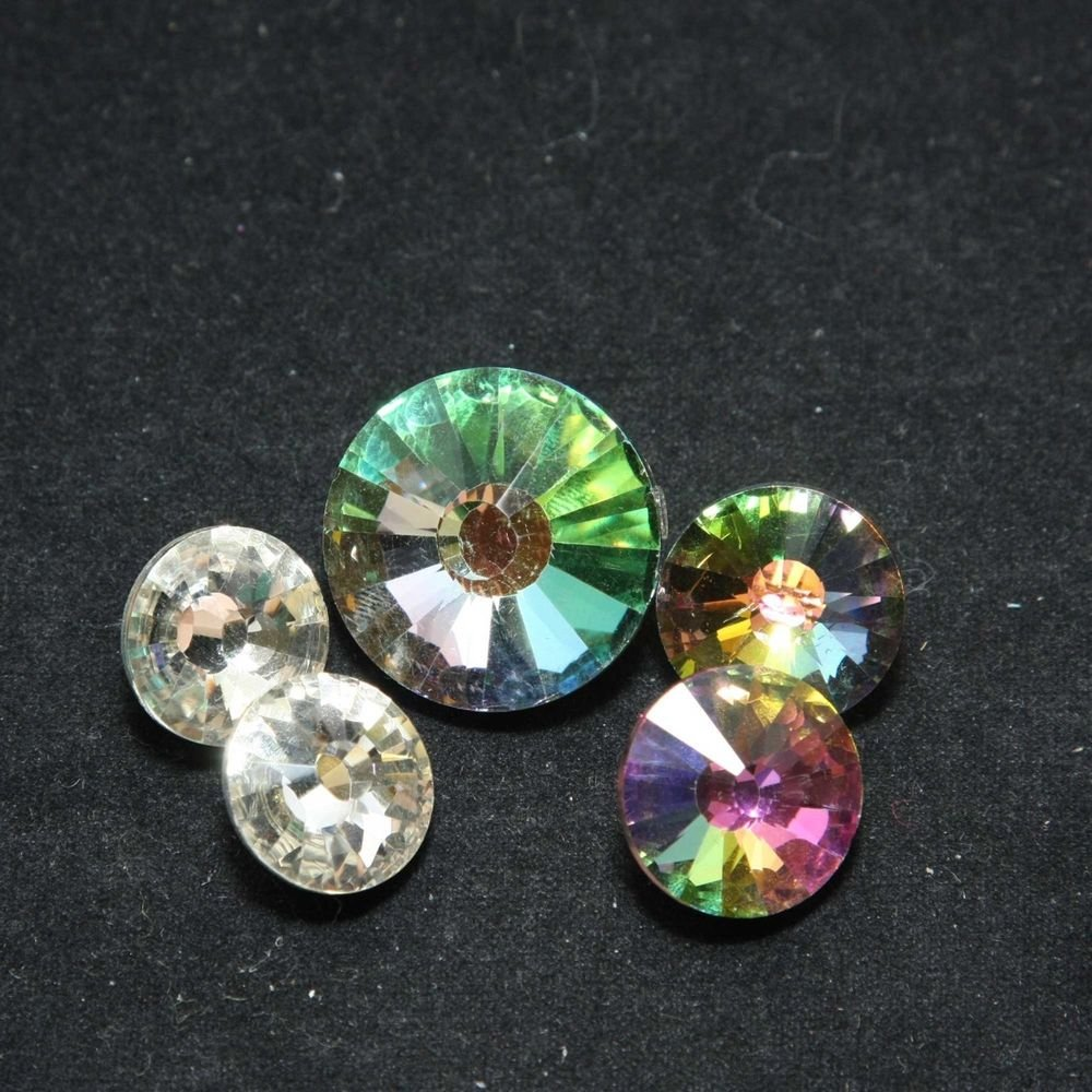 MIXED CLEAR & AURORA RHINESTONE CRYSTAL SILVER BASE BUTTONS