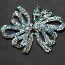 LOT OF 6 BOW BUTTERFLY RHINESTONE CRYSTAL WEDDING CLASP BUTTON HOOK CLOSURE