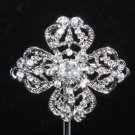 LOT OF 10 BRIDAL CRYSTAL RHINESTONE WEDDING VINTAGE STYLE CROSS BROOCH PIN