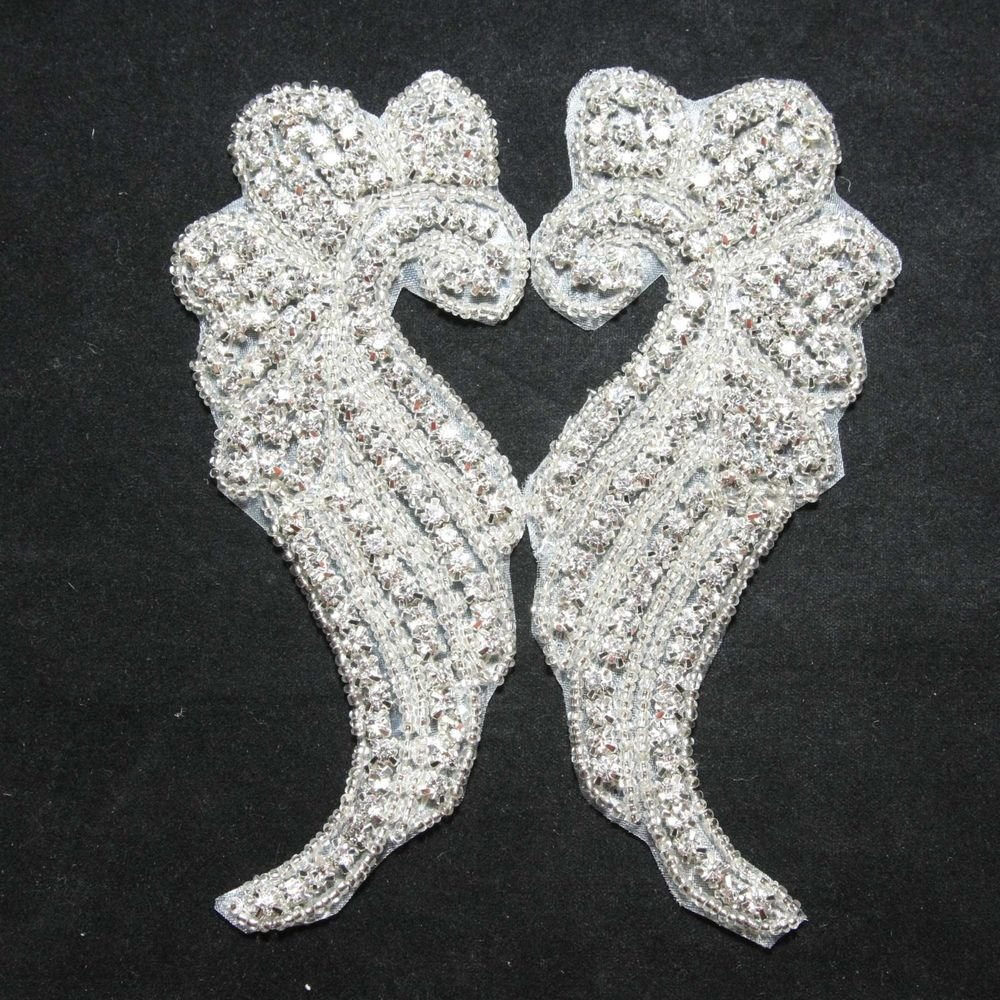 A PAIR OF GLASS CRYSTAL RHINESTONE WEDDING DRESS EMBROIDED  APPLIQUE