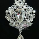 VICTORIAN DANGLE RHINESTONE CRYSTAL BRIDAL WEDDING CAKE BUCKLE BROOCH PIN