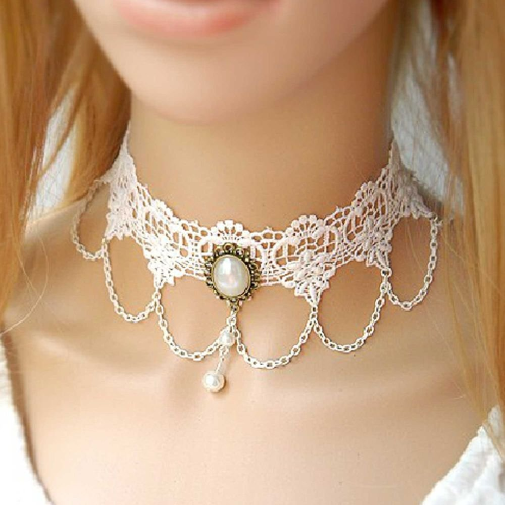 ROCOCO GOTHIC IVORY LACE CHAIN CHOKER PENDANT DANGLE NECKLACE