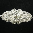 LOT OF 4 BEADED GLASS CRYSTAL RHINESTONE WEDDING CRAFT SASH HEADBAND APPLIQUE