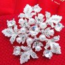 FAUX PEARL WHITE SILVER FLOWER CRYSTAL BRIDAL WEDDING BROOCH PIN
