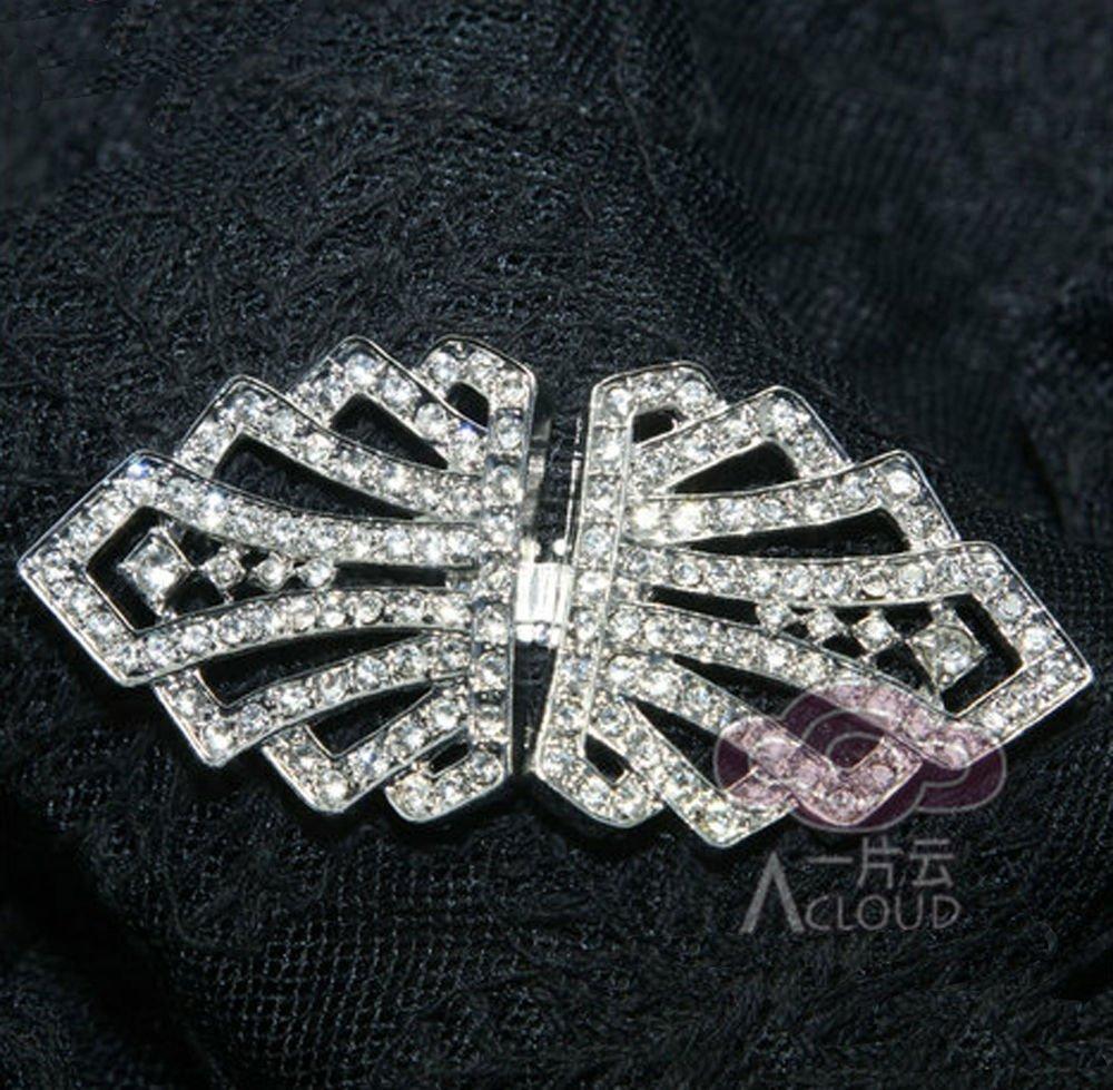RHINESTONE CRYSTAL WEDDING BRIDAL DRESS SASH CLASP BUTTON BUCKLE HOOK CLOSURE
