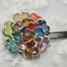 COLOUR RAINBOW PLASTIC FLOWER RHINESTONE CRYSTAL HAIR CLIP