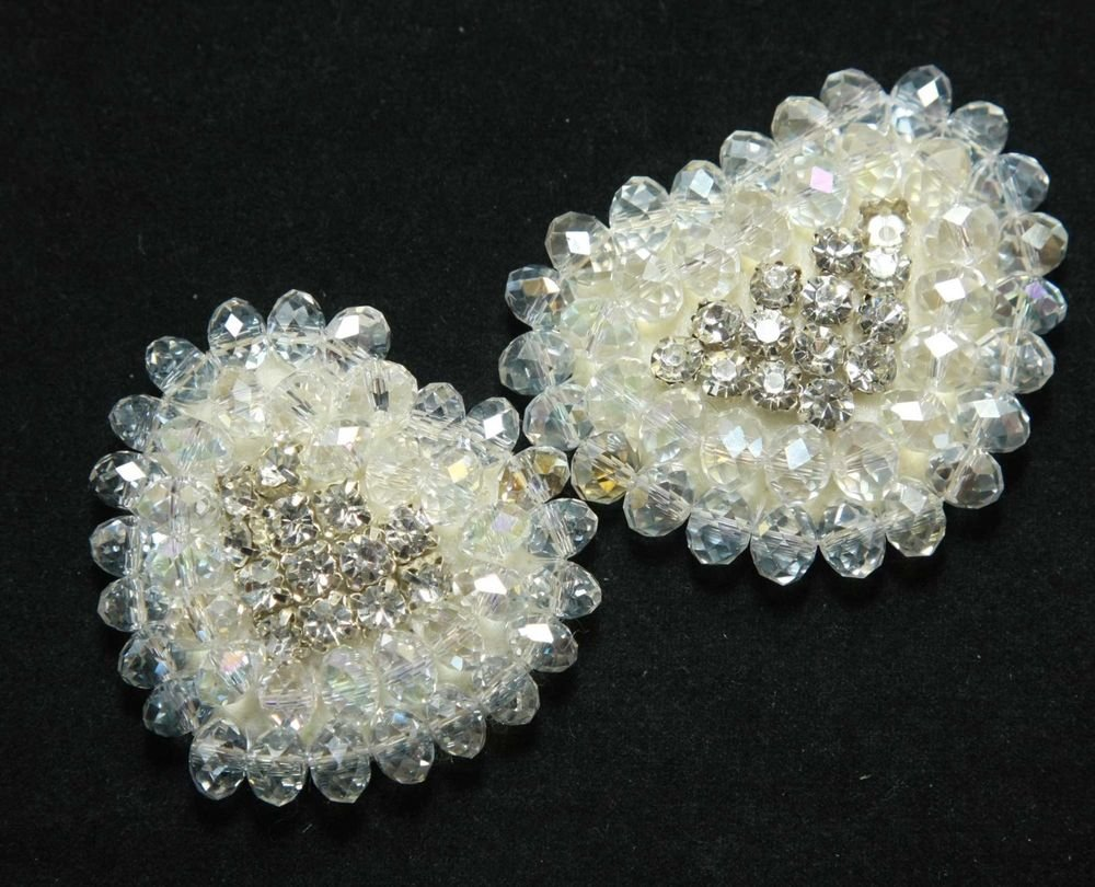 A PAIR OF  BEADED GLASS CRYSTAL RHINESTONE WEDDING HEART SHOES CLIPS