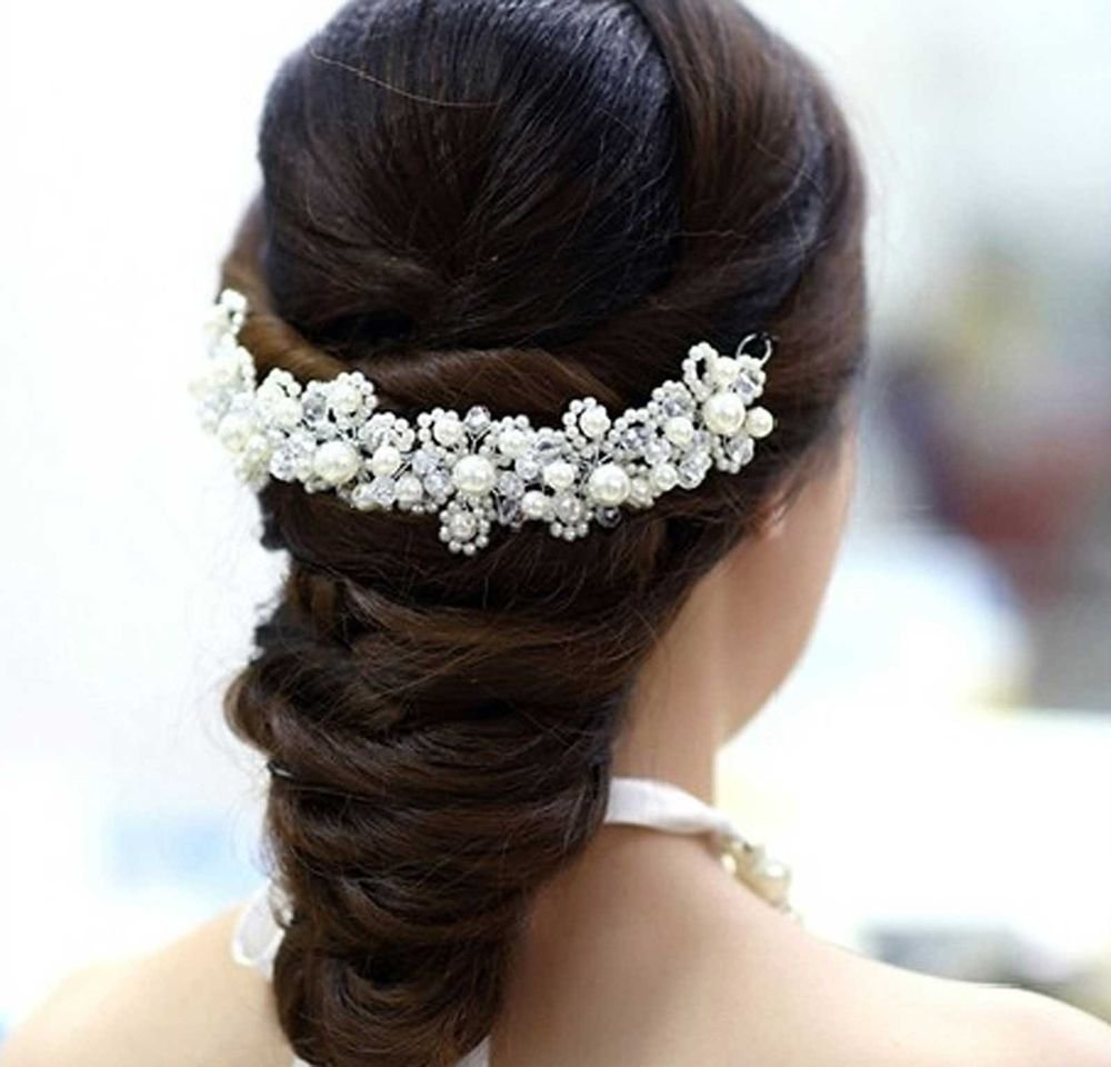 FAUX PEARL BRIDAL WEDDING BRIDES RHINESTONE FLOWER WIRE HAIR TIARA