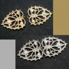GOLD/SILVER HEART CLOSURE RHINESTONE CRYSTAL SWEATER CLASP MATCHING BUTTONS