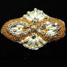 "2.8"" GOLD BEADED GLASS CRYSTAL RHINESTONE WEDDING DRESS APPLIQUE SEW IRON PATCH"