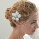HANDMADE WEDDING BRIDCAGE NET VEIL COVER FACE RHINESTONE FLOWER MASK & CLIP