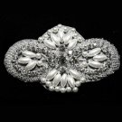 "4"" LARGE BEADED GLASS CRYSTAL RHINESTONE WEDDING FAUX PEARL GARTER APPLIQUE"
