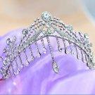 WEDDING BRIDAL BRIDE HEAD RHINESTONE CRYSTAL HAIR CHAIN TIARA CROWN & EARRINGS