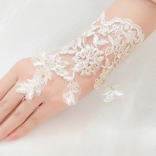 LACE FLORAL BRIDES WEDDING FLORAL PATTERN FINGERLESS SHORT GLOVES