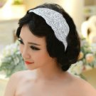 WHITE RIBBON HEADBAND BEADED GLASS CRYSTAL RHINESTONE WEDDING HAIRBAND