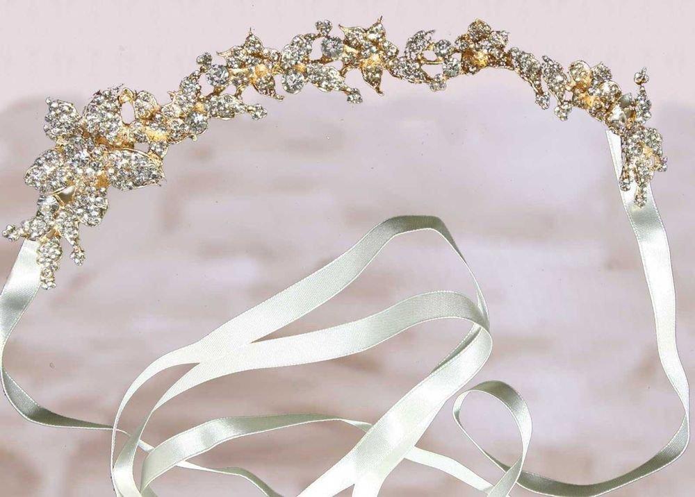BRIDAL WEDDING RHINESTONE CRYSTAL HAIR TIARA IVORY RIBBON HEADBAND