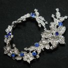 BRIDAL WEDDING BLUE RHINESTONE CRYSTAL FLOWER SEWING HAIR APPLIQUE CHAIN