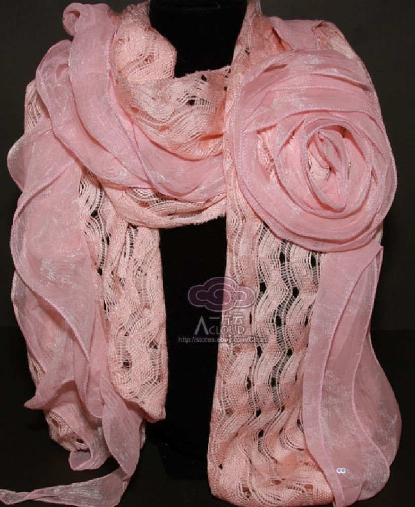 BRIDAL WEDDING PINK/WHITE BIG ROSE LACE WRAP LONG KNIT SCARF SHAWL