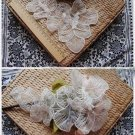 LOF OF 2 IVORY WEDDING DIY EMBROIDERY CRAFT APPLIQUE LEAVES MOTIF LACE