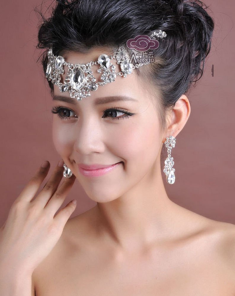 WEDDING BRIDAL RHINESTONE CRYSTAL HAIR CHAIN CLIP EARRINGS NECKLACE SET