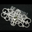 VINTAGE SYMMETRY BRIDAL WEDDING BRIDES SILVER RHINESTONE CRYSTAL TIARA HAIR COMB