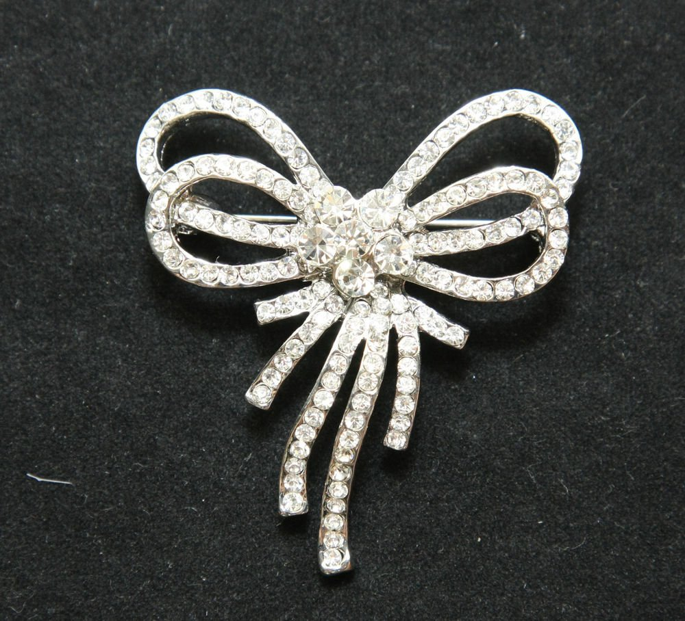 BRIDAL DRESS BOW CRYSTAL RHINESTONE DRESS BUCKLE SILVER BUTTERFLY BROOCH PIN