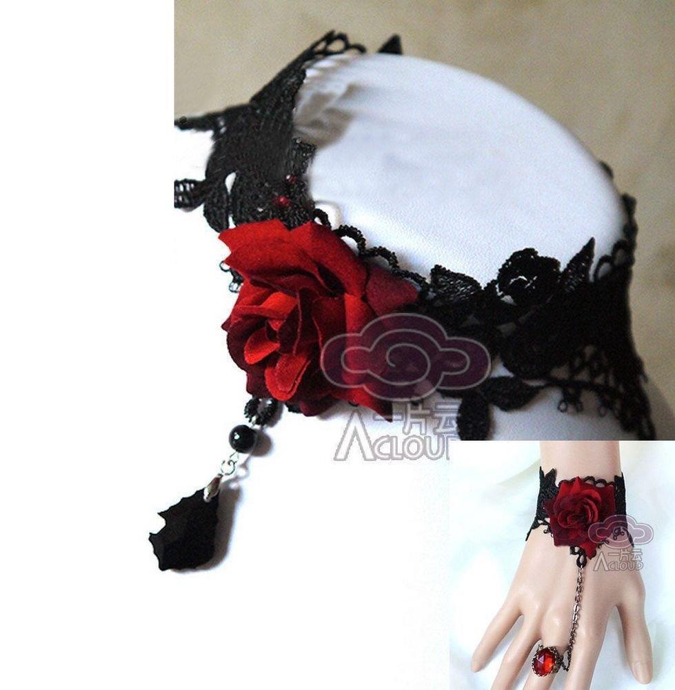 BLACK LACE RED ROSE DANGLE SLAVE BRACELET & NECKLACE SET