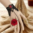 BLACK GOTHIC GOTH FRENCH VENICE LACE RED FLOWER PATCH BRACELET