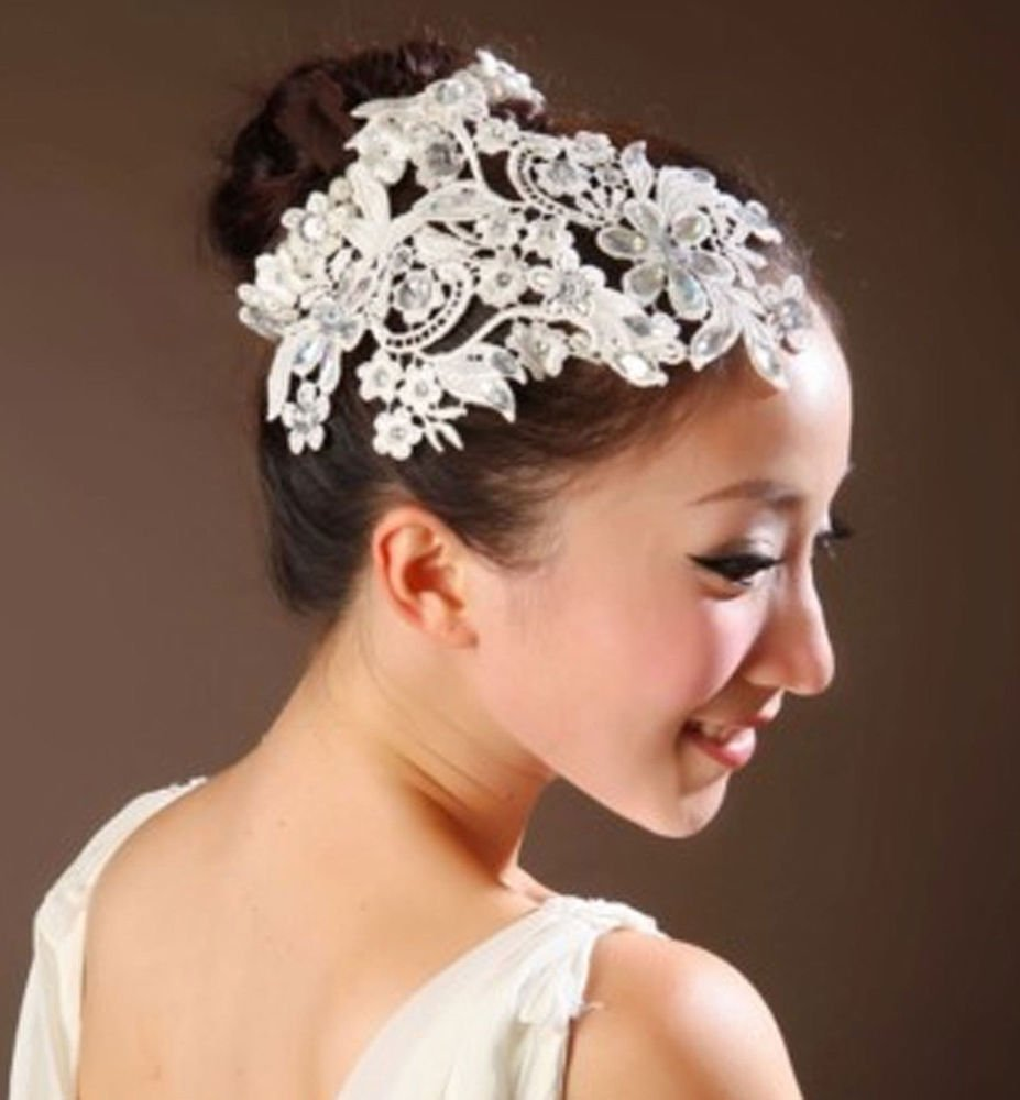 RHINESTONE LACE BRIDAL WEDDING BRIDE PEARL RING APPLIQUE HAIR HEAD TIARA RING