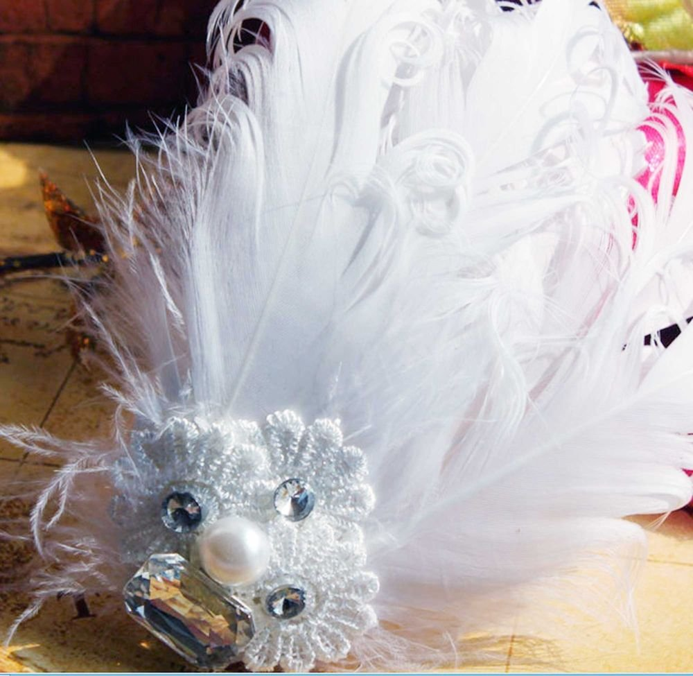 BRIDAL WEDDING WHITE PEACOCK FEATHER HAIR LACE FASCINATOR ALLIGATOR HAIR  CLIP