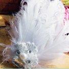 BRIDAL WEDDING WHITE PEACOCK FEATHER HAIR LACE FASCINATOR ALLIGATOR HAIR  CLIP