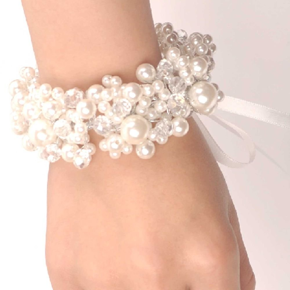 BEADS FAUX PEARL WEDDING BRIDAL BRIDE HANDMADE RIBBON BRACELET