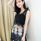 GOTHIC SEXY ELEGANT LACE EMBROIDERY HEART ABSTRACT BLACK VEST