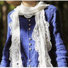 ELEGANT EMBROIDERY FLORAL COSTUME WHITE LACE EDGE WRAP SHAWL STOLE SCARF