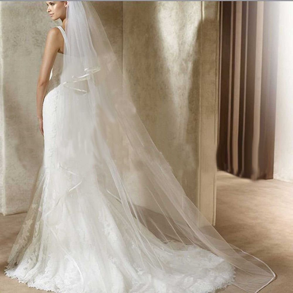 WEDDING BRIDAL BRIDES LONG WHITE/ OFF WHITE CATHEDRAL VEIL 2 Tiers