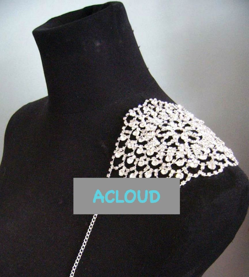 A PAIR OF RHINESTONE CRYSTAL WEDDING APPLIQUE BRA HALTER SHOULDER NECKLACE