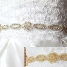 2.5 YARD GOLD/SILVER RHINESTONE CRYSTAL SASH DRESS APPLIQUE SATIN RIBBON BELT