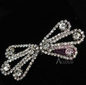 RHINESTONE CRYSTAL BUCKLE HOOK AND EYES CAPE SHRUG SEW-ON CLOSURE BUTTON CLASP