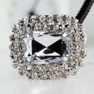 Sparkling Large Acrylic Silver Tone Wedding Bridal Shoe Clips Pair
