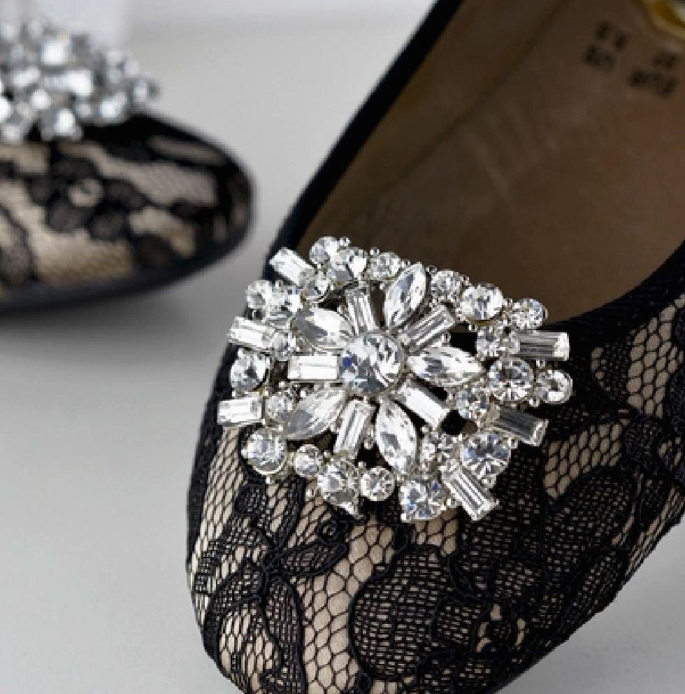 Marquise Baguette Rhinestone Crystal Star Wedding Bridal Shoe Clips Pair