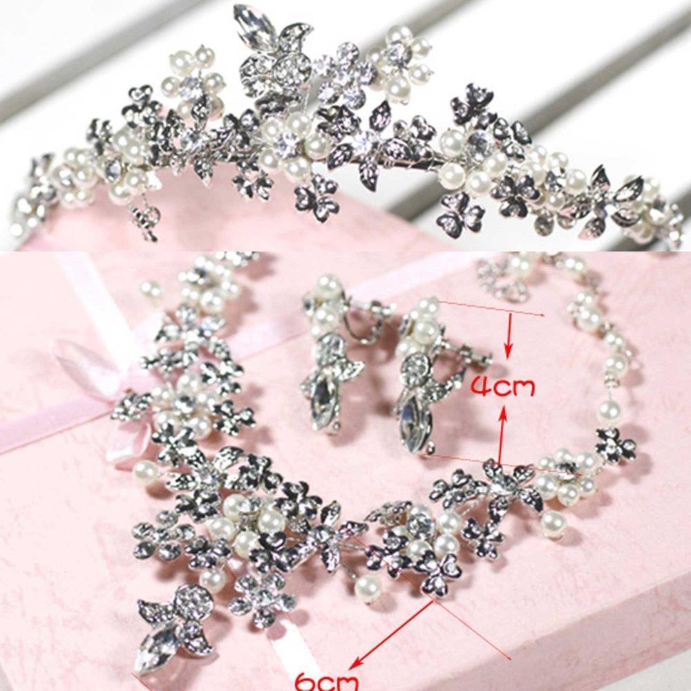 Faux Pearl Rhinestone Crystal Wedding Crown Tiara Necklace Earrings Set